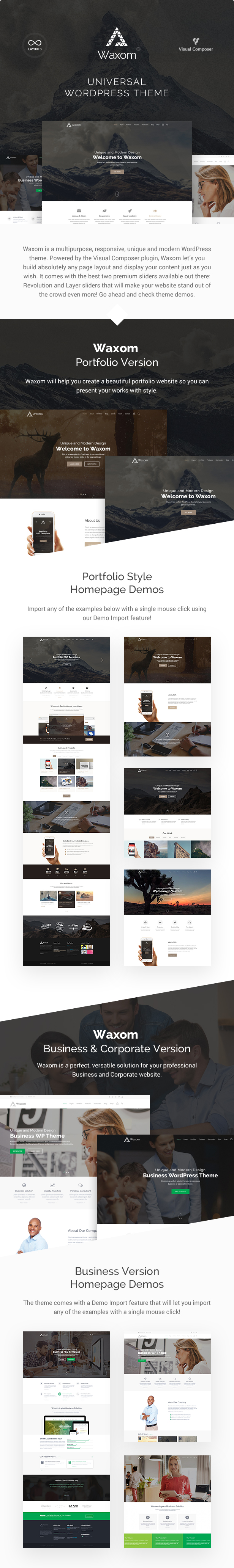 Waxom - Clean & Universal WordPress Theme - 1